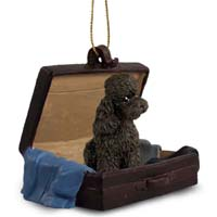 Poodle Chocolate w/Sport Cut Traveling Companion Ornament