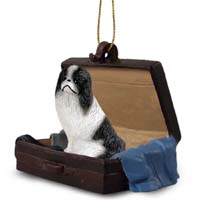 Japanese Chin Black & White Traveling Companion Ornament