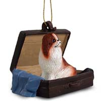 Japanese Chin Red & White Traveling Companion Ornament