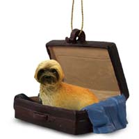 Lhasa Apso Brown w/Sport Cut Traveling Companion Ornament