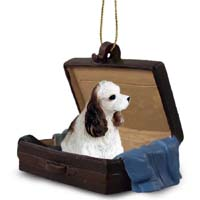 Cocker Spaniel Brown & White Traveling Companion Ornament