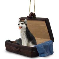 Husky Black & White w/Brown Eyes Traveling Companion Ornament