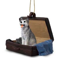 Husky Gray & White w/Brown Eyes Traveling Companion Ornament