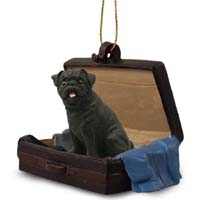 Pug Black Traveling Companion Ornament