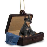 Doberman Pinscher Black w/Cropped Ears Traveling Companion Ornament