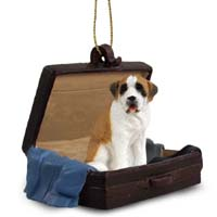 Saint Bernard w/Smooth Coat Traveling Companion Ornament