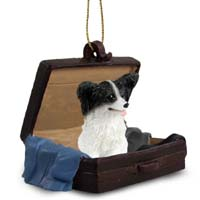 Papillon Black & White Traveling Companion Ornament