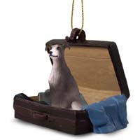 Greyhound Blue Traveling Companion Ornament