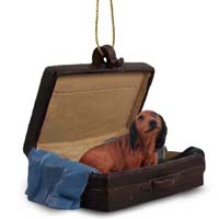 Dachshund Longhaired Red Traveling Companion Ornament