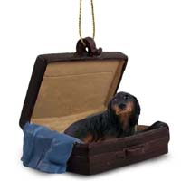 Dachshund Longhaired Black Traveling Companion Ornament