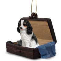 Cavalier King Charles Spaniel Black & White Traveling Companion Ornament
