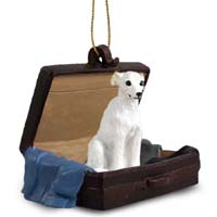 Whippet White Traveling Companion Ornament