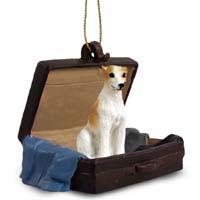 Whippet Tan & White Traveling Companion Ornament