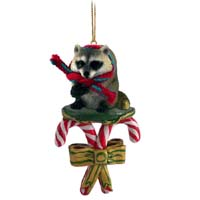 Raccoon Candy Cane Ornament