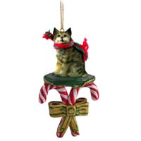 Bobcat Candy Cane Ornament