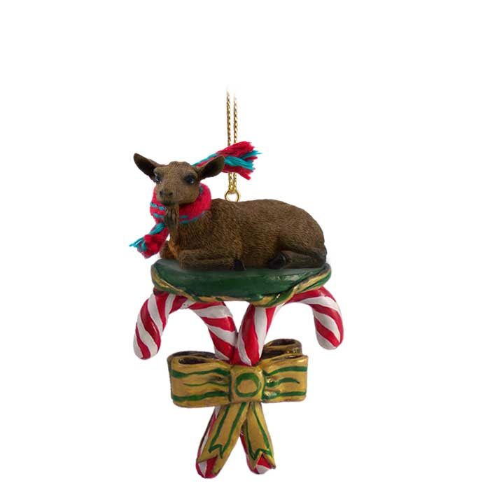 goat brown candy cane ornament