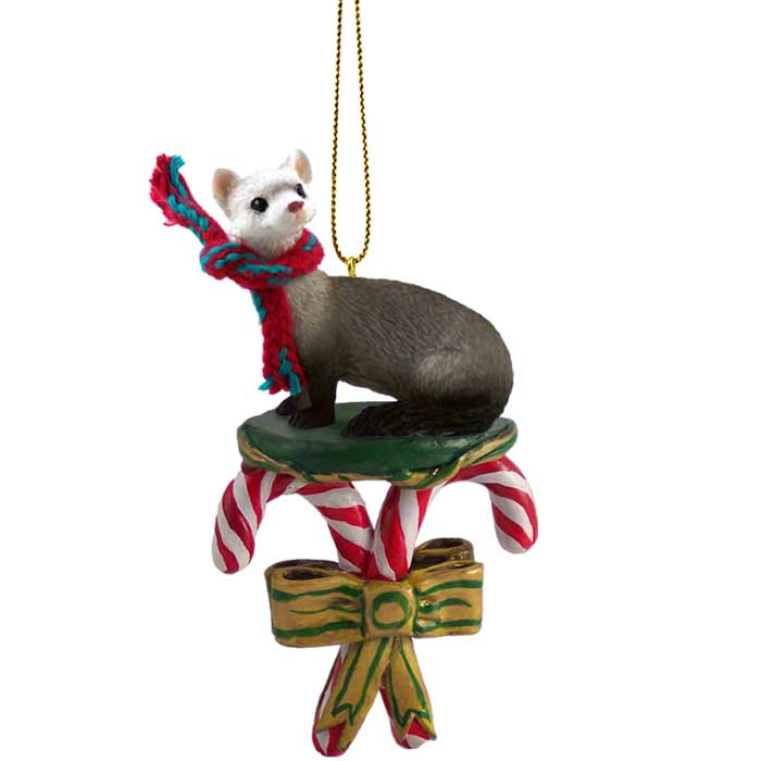 - Ferret Candy Cane Ornament