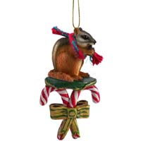 Chipmunk Candy Cane Ornament