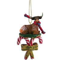 Long Horn Steer Candy Cane Ornament