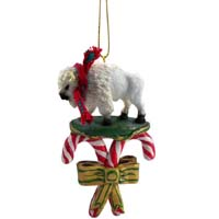 Buffalo White Candy Cane Ornament