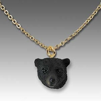 Bear Black Tiny One Head Pendant