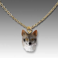 Fox Gray Tiny One Head Pendant