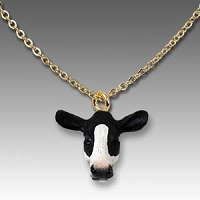 Holstein Cow Tiny One Head Pendant