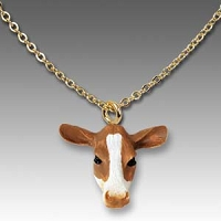 Guernsey Cow Tiny One Head Pendant