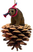 Bear Brown Pinecone Pet Ornament