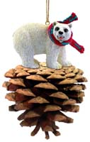 Bear Polar Pinecone Pet Ornament