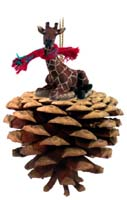 Giraffe Pinecone Pet Ornament