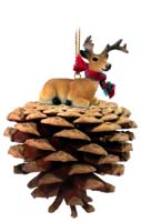 Deer Buck Pinecone Pet Ornament