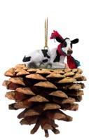 Holstein Cow Pinecone Pet Ornament