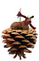 Guernsey Cow Pinecone Pet Ornament