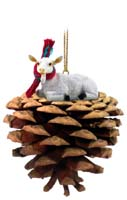 Goat White Pinecone Pet Ornament