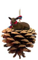 Goat Brown Pinecone Pet Ornament