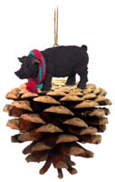 Pig Black Pinecone Pet Ornament