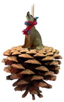 Coyote Pinecone Pet Ornament