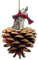 Wolf Gray Pinecone Pet Ornament