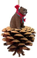 Bear Grizzly Pinecone Pet Ornament