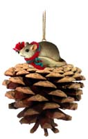 Mouse Pinecone Pet Ornament