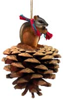 Chipmunk Pinecone Pet Ornament