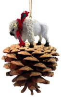 Buffalo White Pinecone Pet Ornament