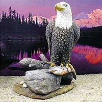 Eagle On Rock w/Fish Figurine