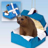 Bear Brown Gift Box Blue Ornament