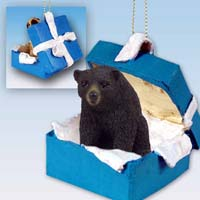 Bear Black Gift Box Blue Ornament