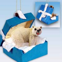 Bear Polar Gift Box Blue Ornament