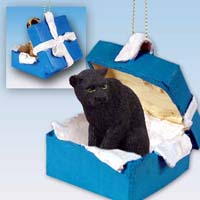 Panther Gift Box Blue Ornament