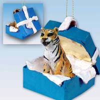 Tiger Gift Box Blue Ornament