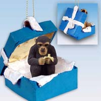 Chimpanzee Gift Box Blue Ornament